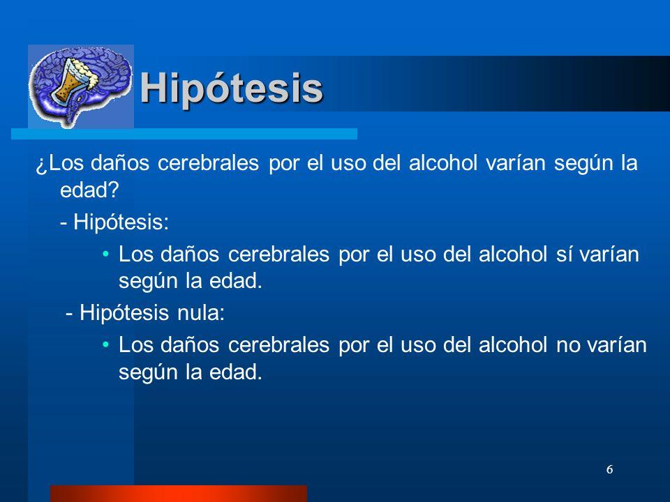 Hipótesis ¿Los daños cerebrales por el uso del alcohol varían según la edad - Hipótesis: