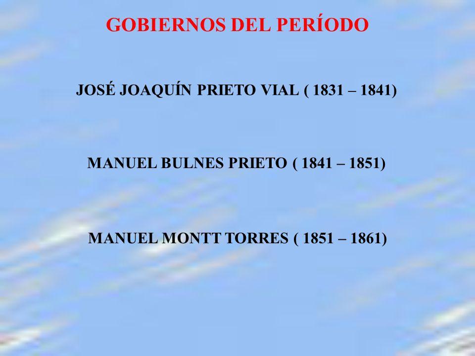 GOBIERNOS DEL PERÍODO JOSÉ JOAQUÍN PRIETO VIAL ( 1831 – 1841)