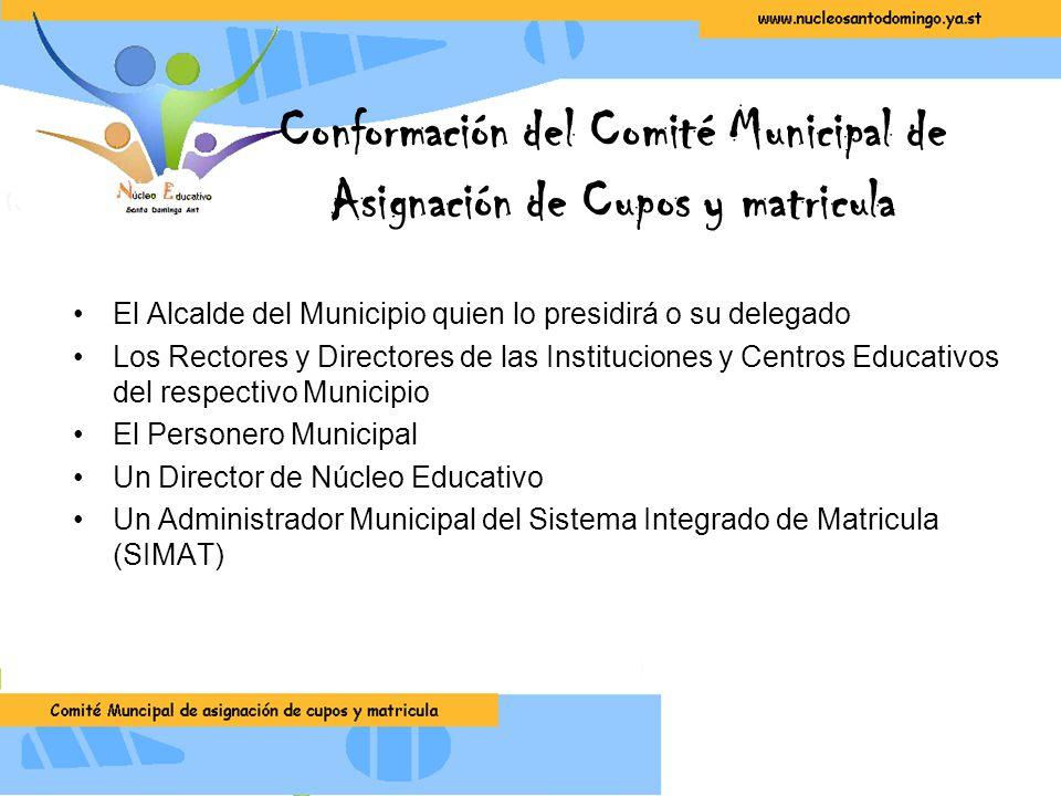 Conformación del Comité Municipal de Asignación de Cupos y matricula