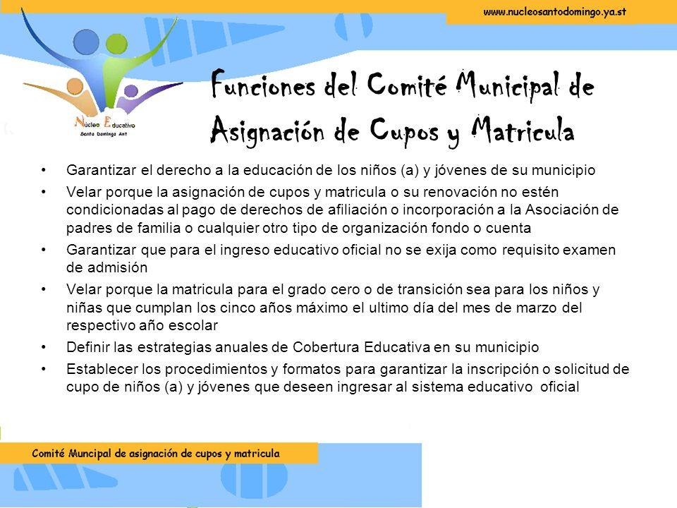 Funciones del Comité Municipal de Asignación de Cupos y Matricula