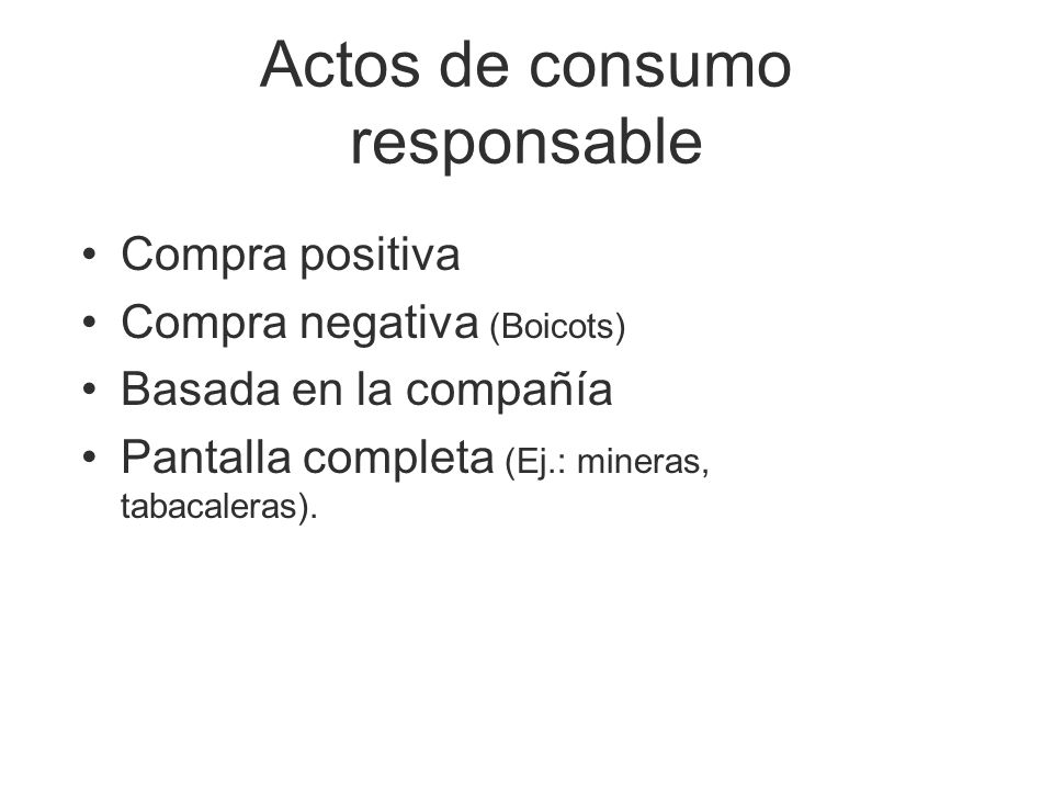 Actos de consumo responsable