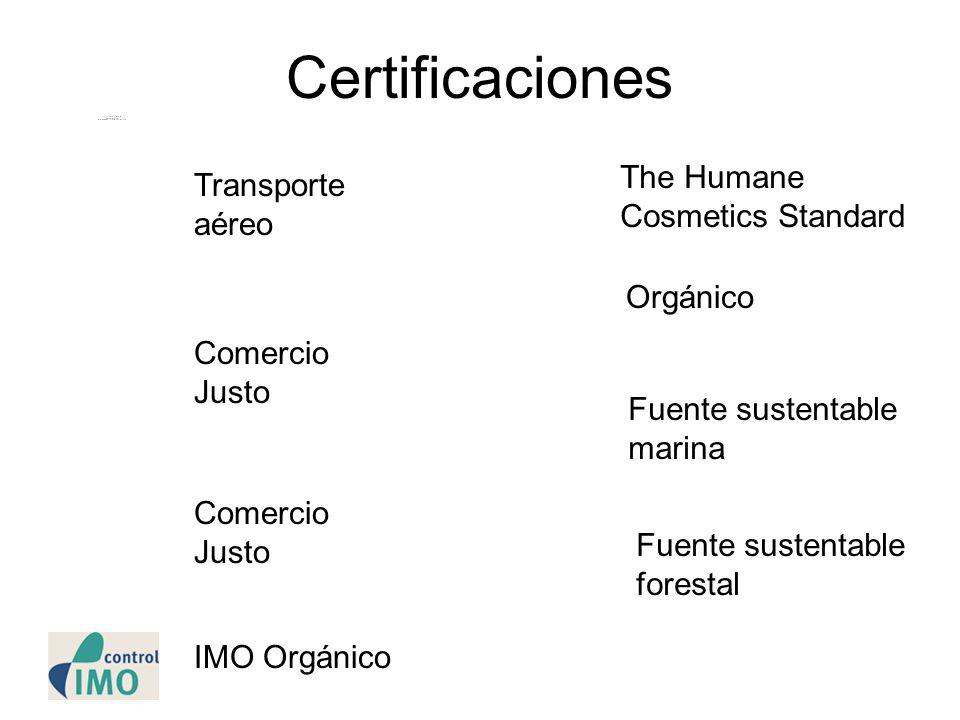 Certificaciones The Humane Cosmetics Standard Transporte aéreo