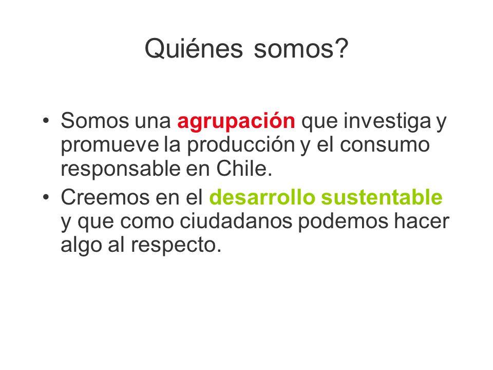 Quiénes somos Somos una agrupación que investiga y promueve la producción y el consumo responsable en Chile.