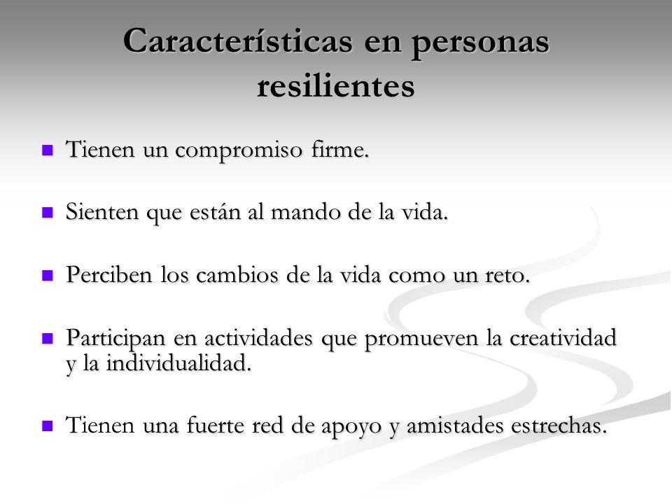 Características en personas resilientes