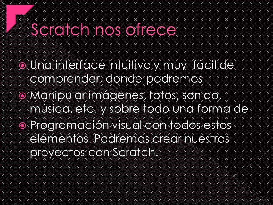 Scratch nos ofrece Una interface intuitiva y muy fácil de comprender, donde podremos.