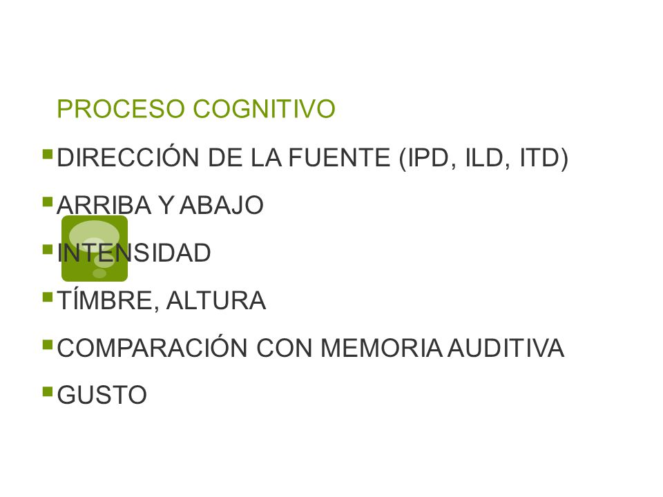 PROCESO COGNITIVO DIRECCIÓN DE LA FUENTE (IPD, ILD, ITD) ARRIBA Y ABAJO. INTENSIDAD. TÍMBRE, ALTURA.
