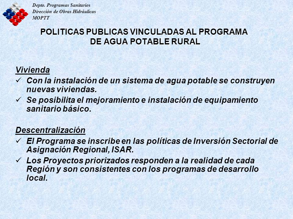 POLITICAS PUBLICAS VINCULADAS AL PROGRAMA DE AGUA POTABLE RURAL