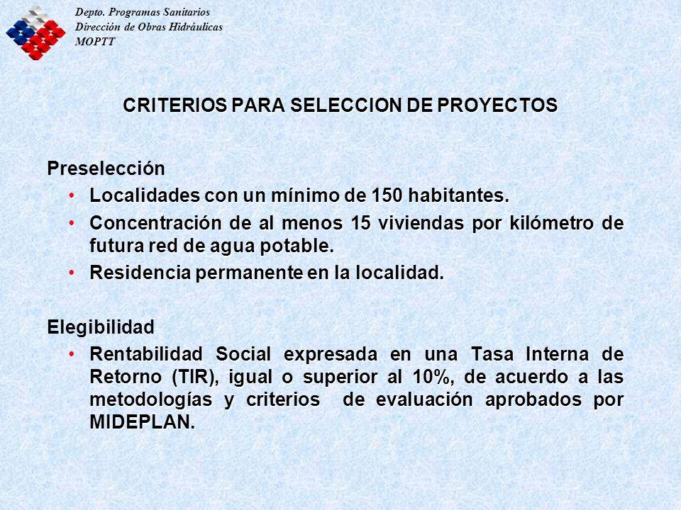 CRITERIOS PARA SELECCION DE PROYECTOS