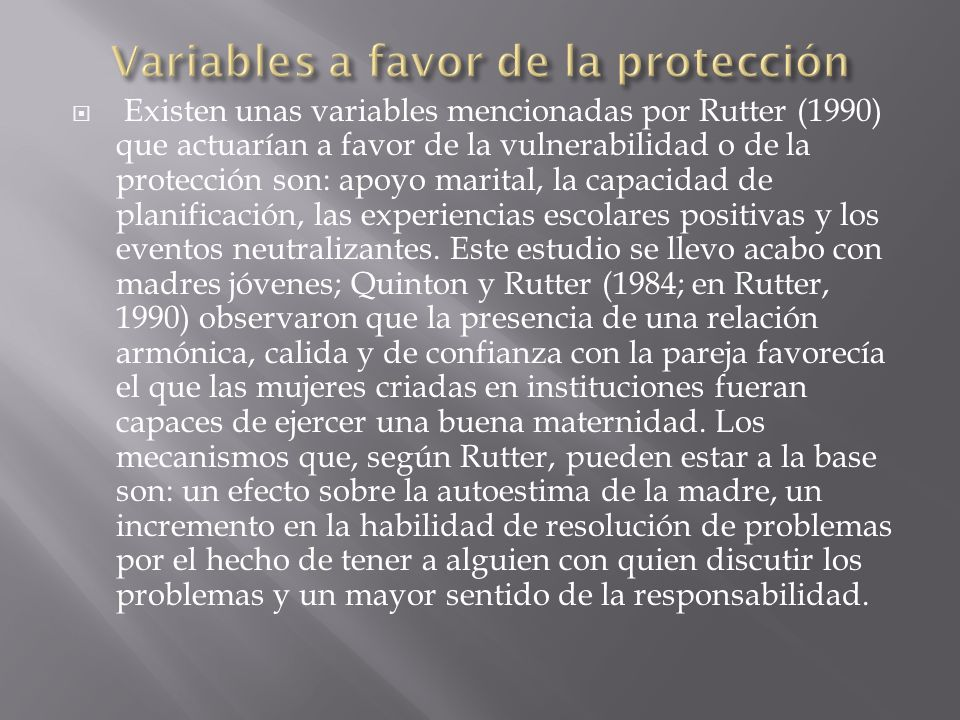 Variables a favor de la protección