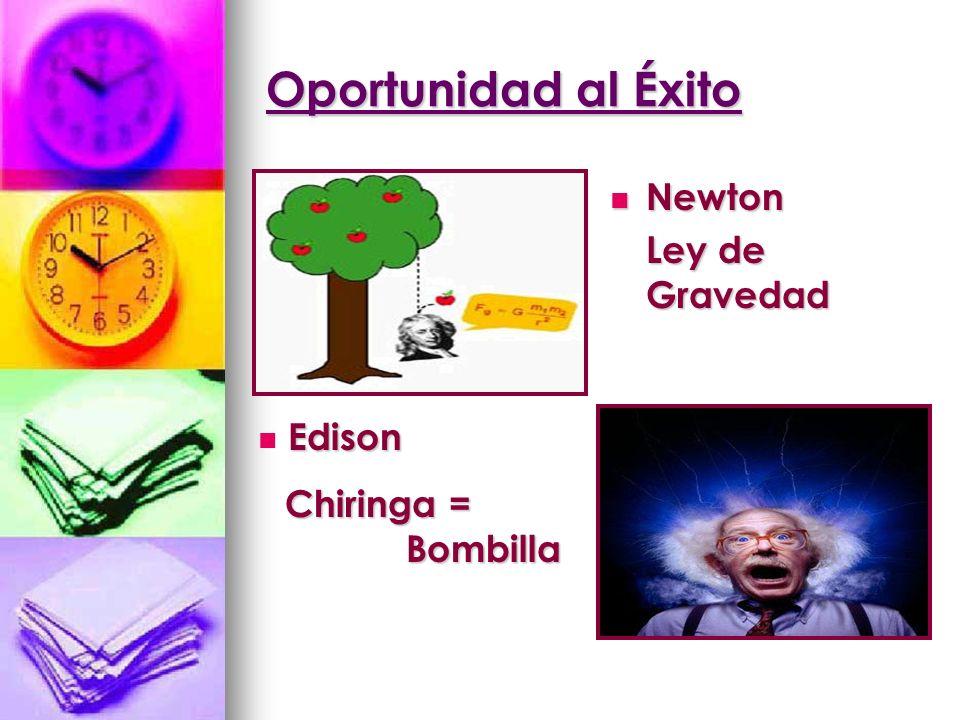 Oportunidad al Éxito Newton Ley de Gravedad Edison Chiringa = Bombilla
