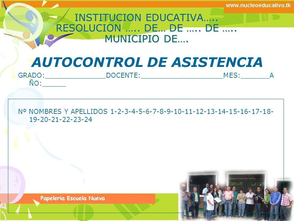 AUTOCONTROL DE ASISTENCIA