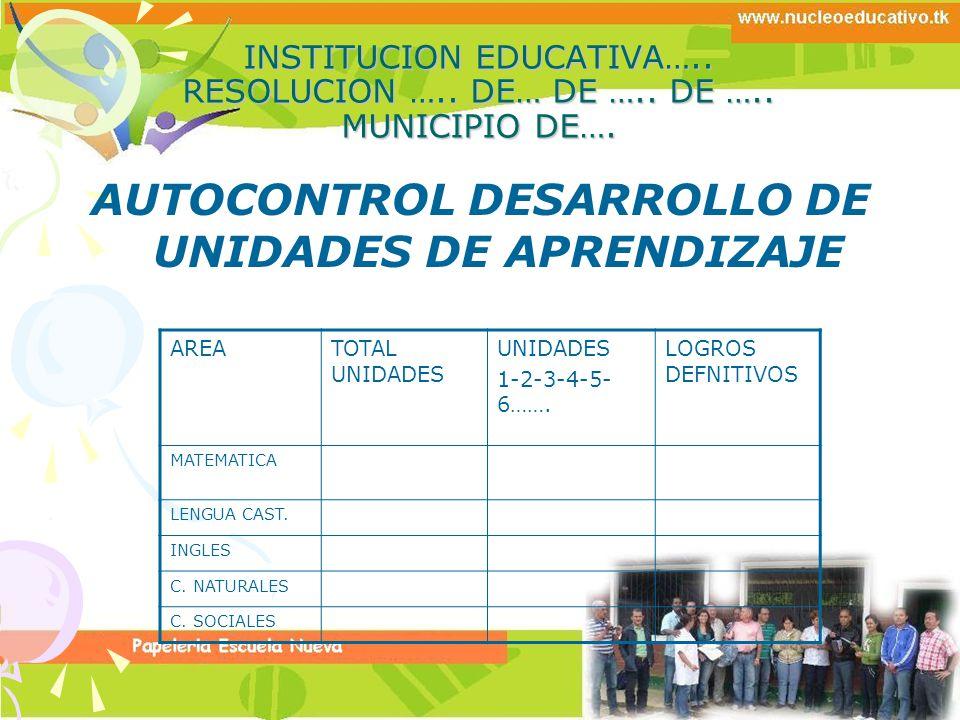 AUTOCONTROL DESARROLLO DE UNIDADES DE APRENDIZAJE
