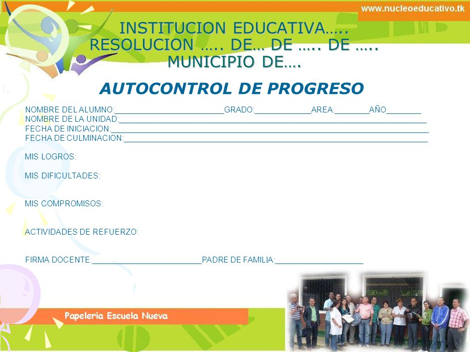 AUTOCONTROL DE PROGRESO