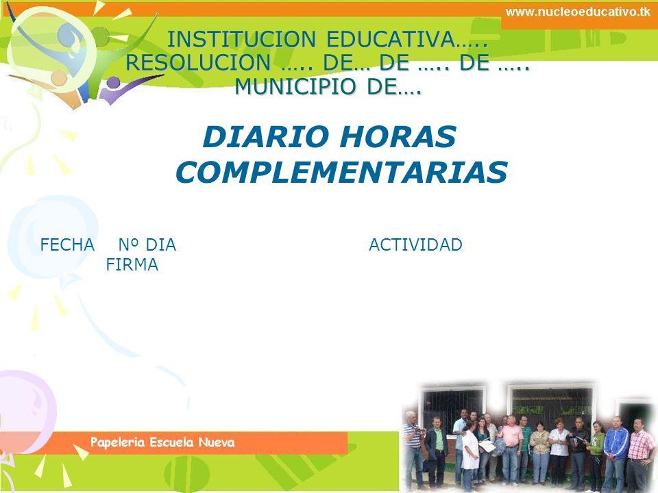 DIARIO HORAS COMPLEMENTARIAS