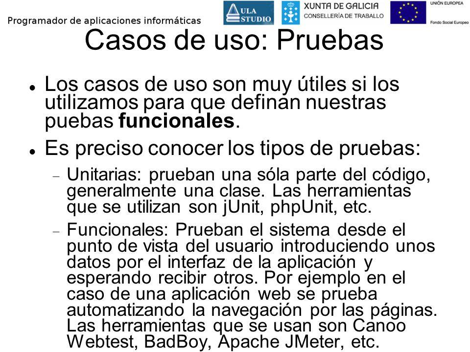 Casos de uso: Pruebas Los casos de uso son muy útiles si los utilizamos para que definan nuestras puebas funcionales.