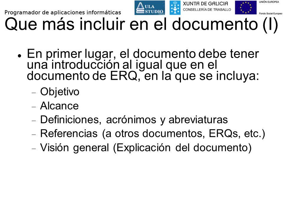 Que más incluir en el documento (I)