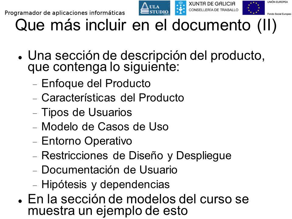 Que más incluir en el documento (II)