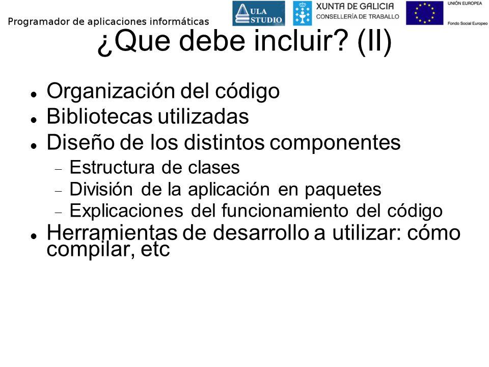 ¿Que debe incluir (II) Organización del código Bibliotecas utilizadas