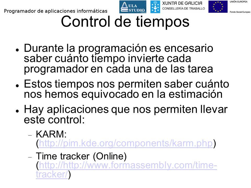 Control de tiempos Durante la programación es encesario saber cuánto tiempo invierte cada programador en cada una de las tarea.