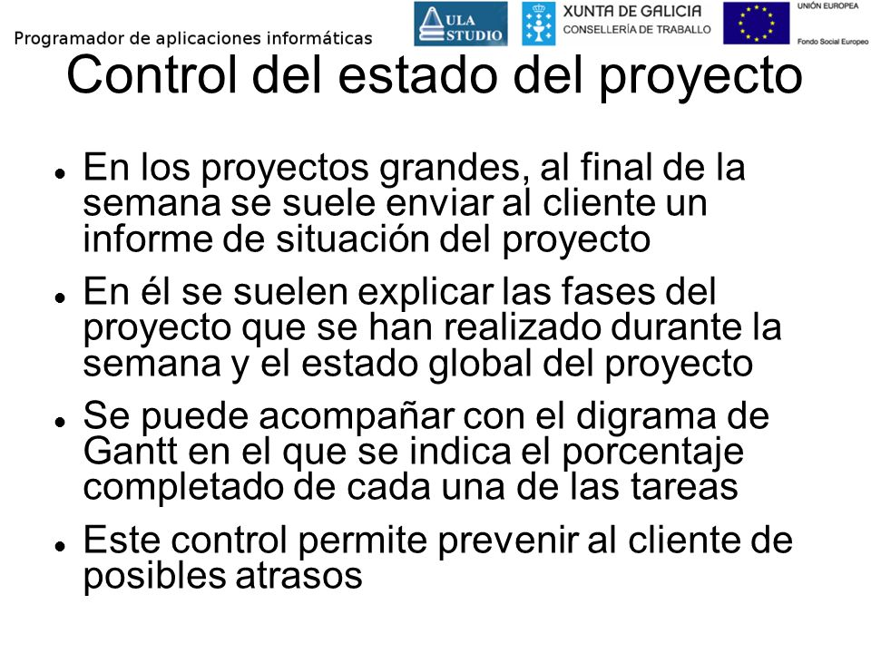 Control del estado del proyecto
