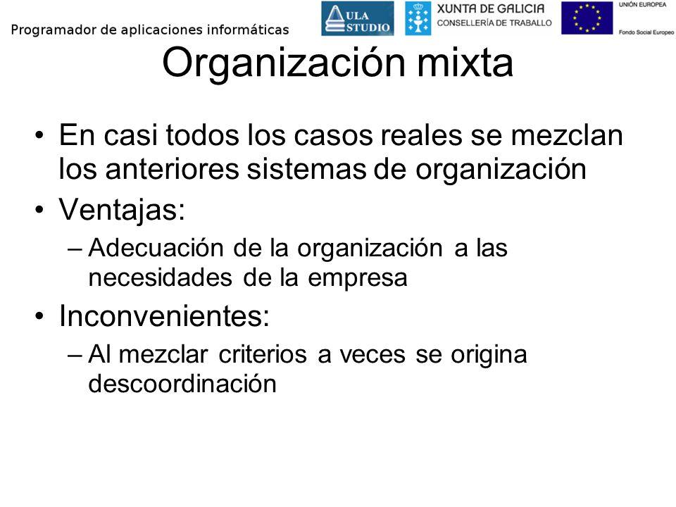 Organización mixta En casi todos los casos reales se mezclan los anteriores sistemas de organización.