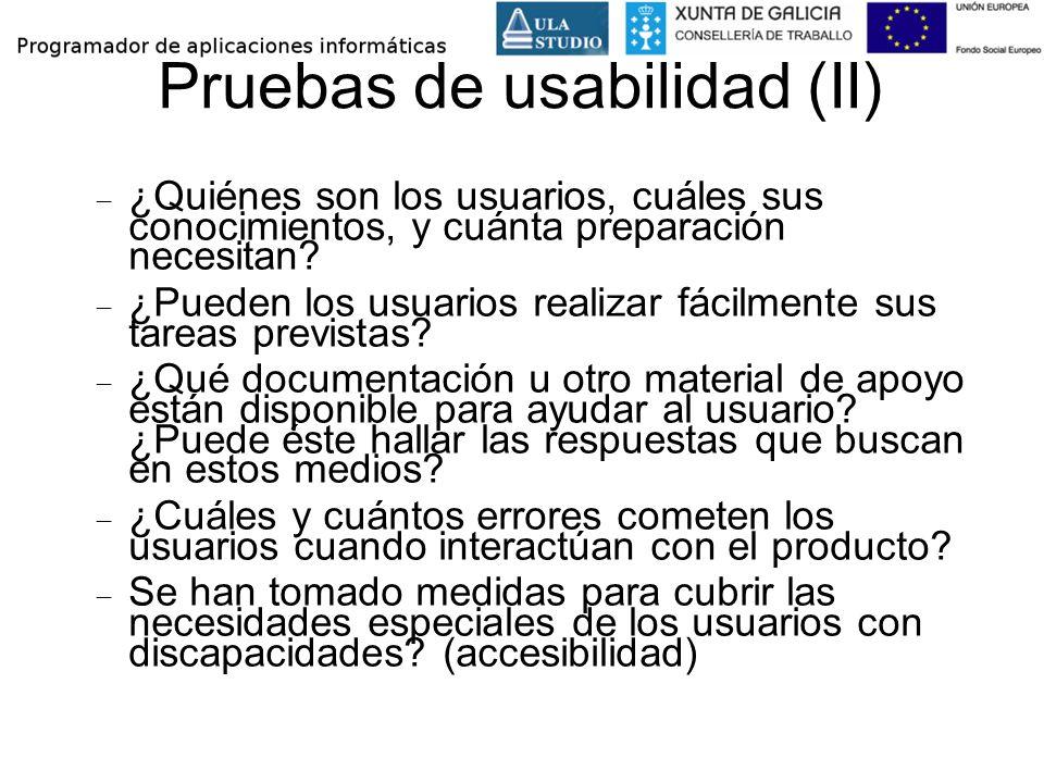 Pruebas de usabilidad (II)