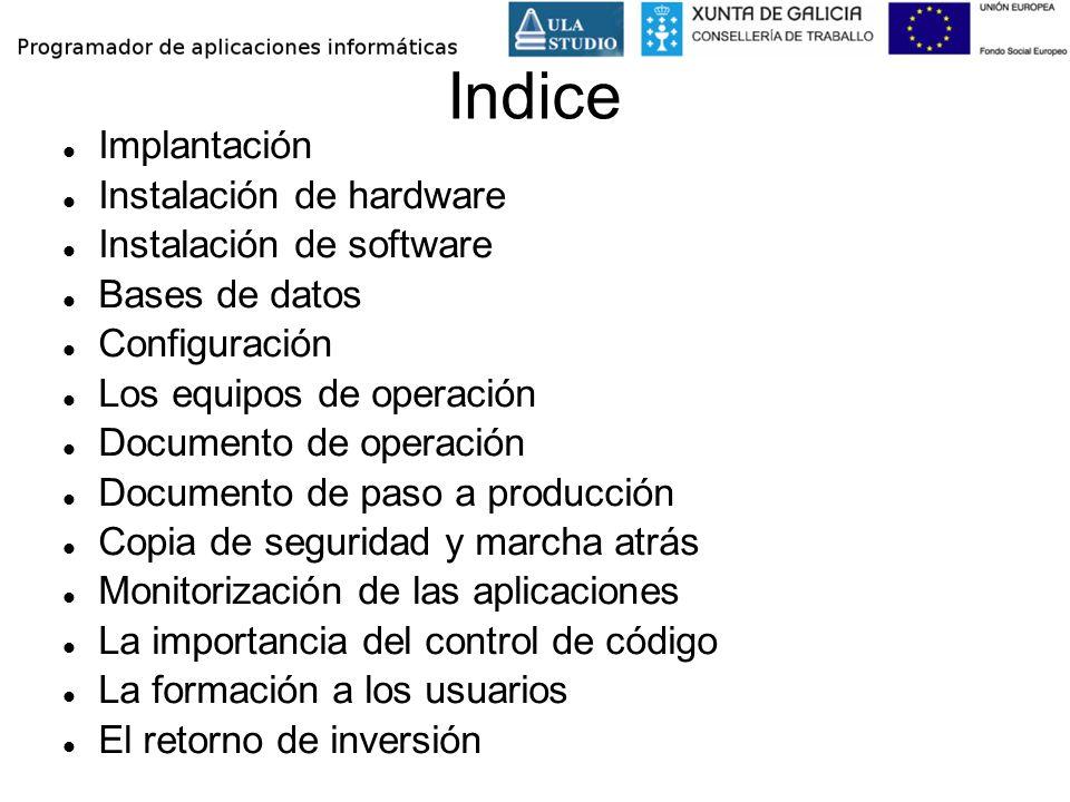 Indice Implantación Instalación de hardware Instalación de software