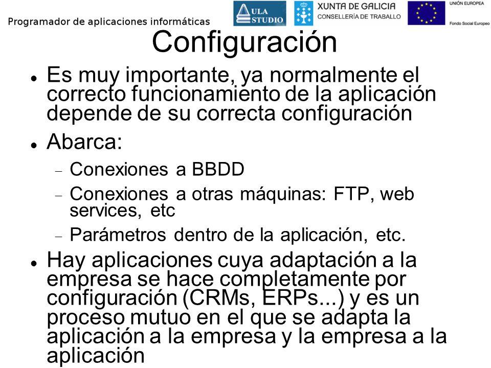 Configuración Es muy importante, ya normalmente el correcto funcionamiento de la aplicación depende de su correcta configuración.