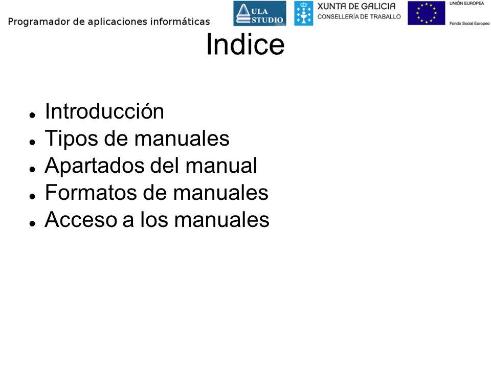 Indice Introducción Tipos de manuales Apartados del manual