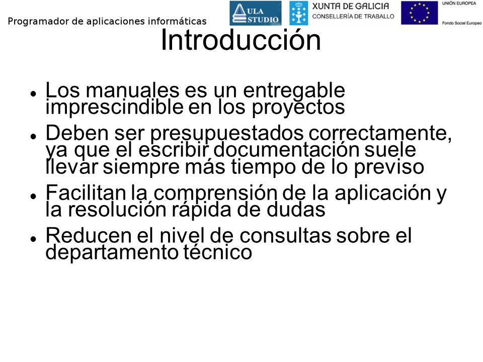 Introducción Los manuales es un entregable imprescindible en los proyectos.