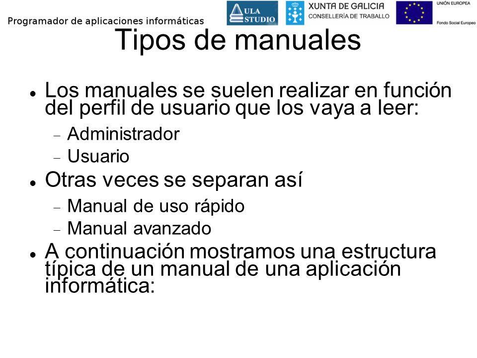 Tipos de manuales Los manuales se suelen realizar en función del perfil de usuario que los vaya a leer: