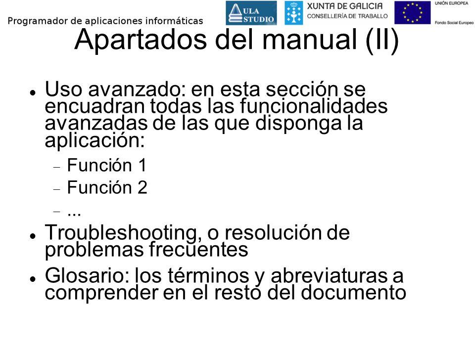 Apartados del manual (II)