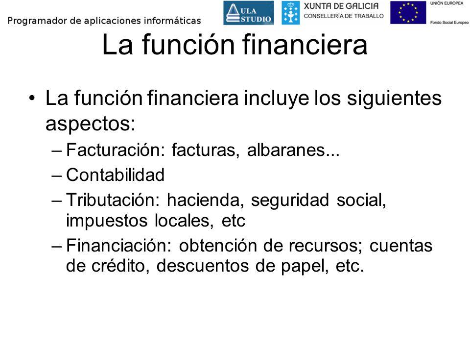 La función financiera La función financiera incluye los siguientes aspectos: Facturación: facturas, albaranes...