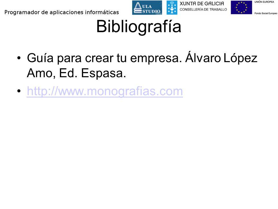 Bibliografía Guía para crear tu empresa. Álvaro López Amo, Ed. Espasa.