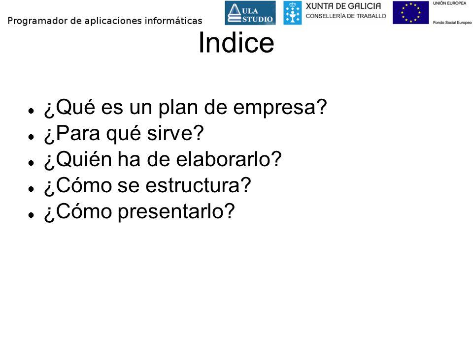 Indice ¿Qué es un plan de empresa ¿Para qué sirve