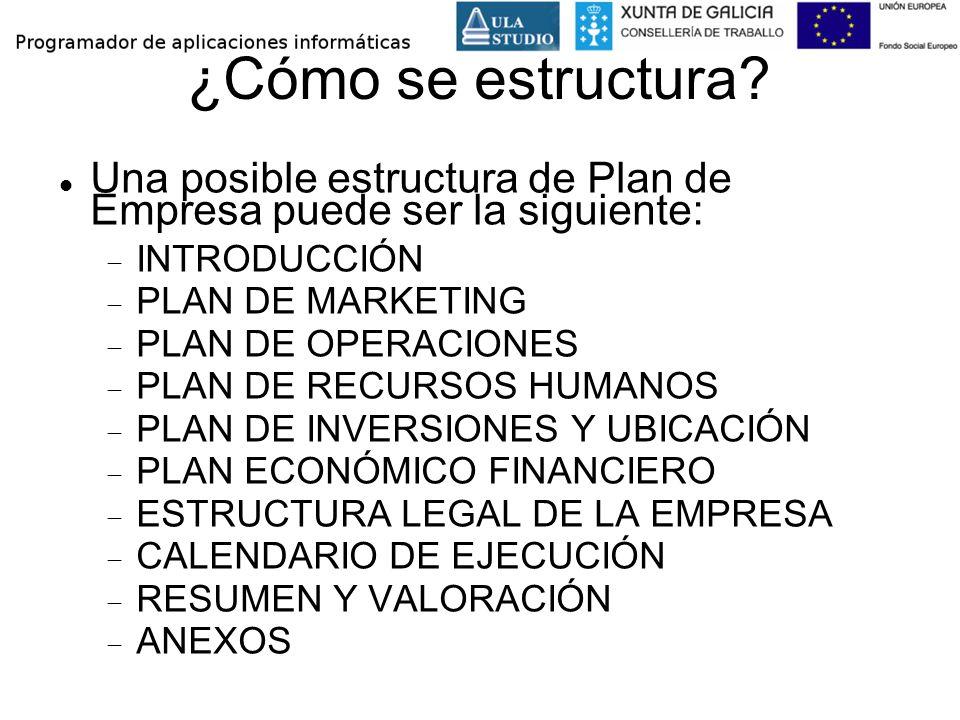 ¿Cómo se estructura Una posible estructura de Plan de Empresa puede ser la siguiente: INTRODUCCIÓN.