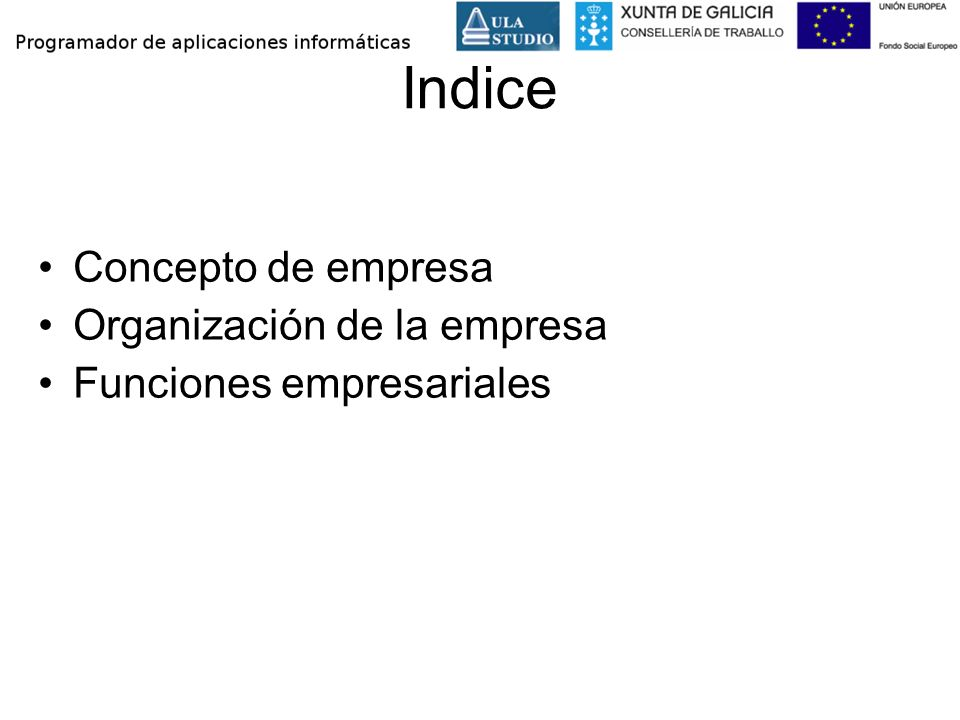 Indice Concepto de empresa Organización de la empresa
