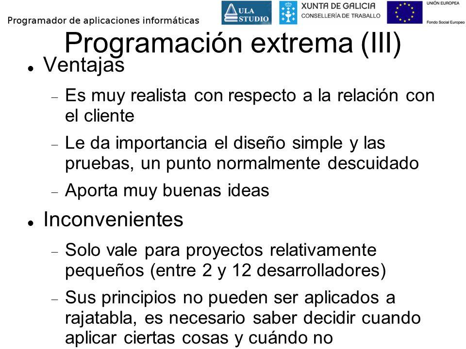 Programación extrema (III)