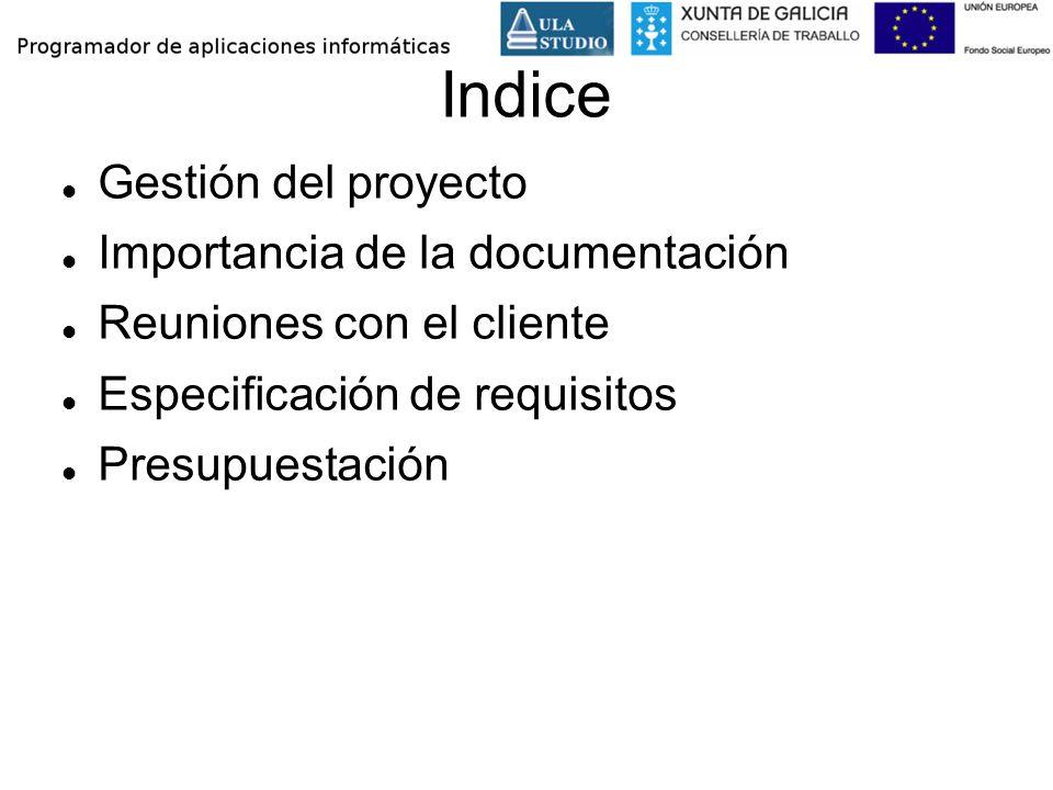 Indice Gestión del proyecto Importancia de la documentación