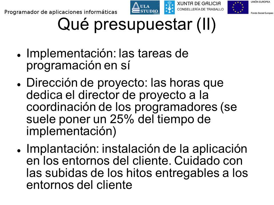 Qué presupuestar (II) Implementación: las tareas de programación en sí