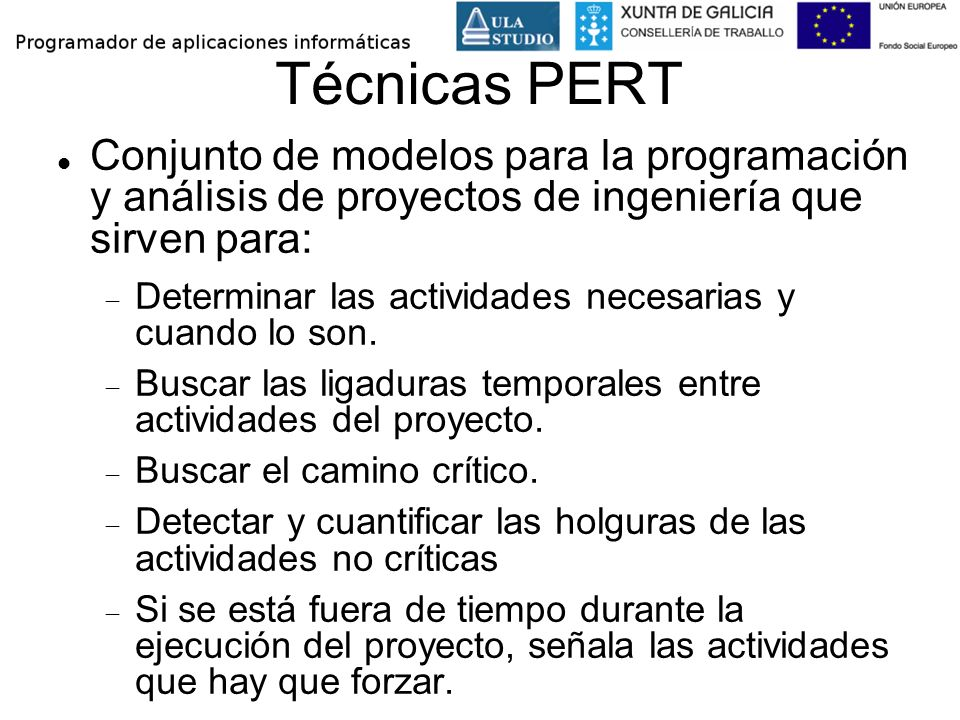 Técnicas PERT Conjunto de modelos para la programación y análisis de proyectos de ingeniería que sirven para: