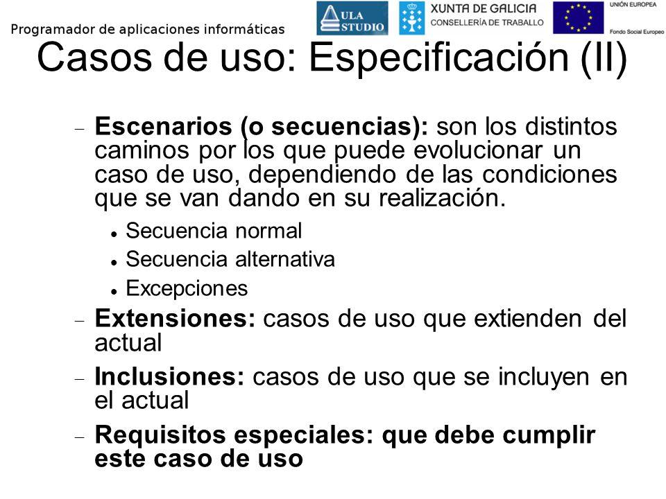 Casos de uso: Especificación (II)