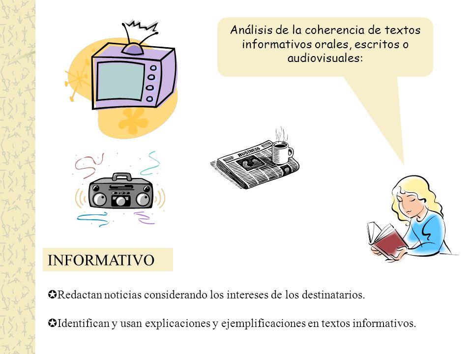 Análisis de la coherencia de textos informativos orales, escritos o audiovisuales: