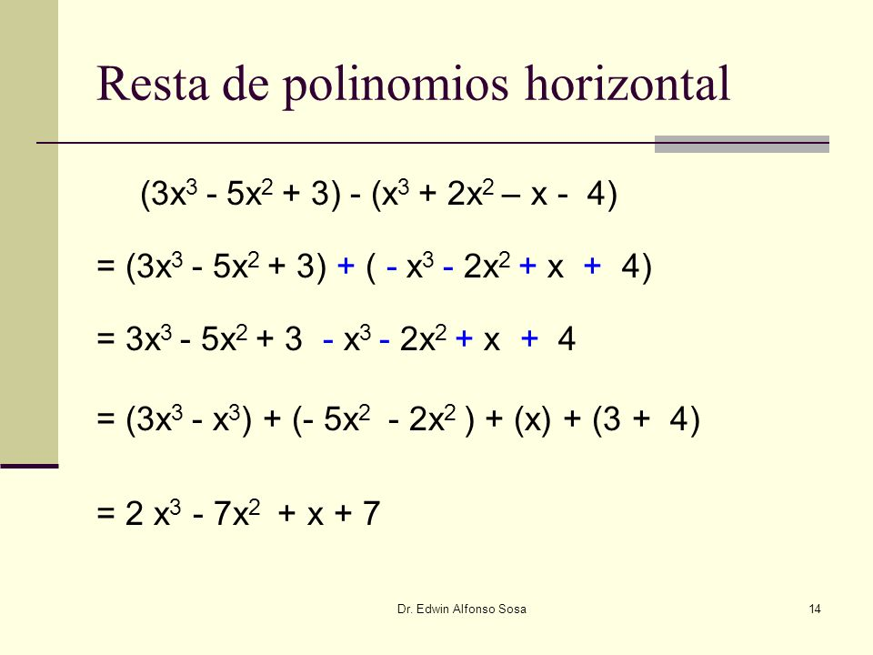 Resta de polinomios horizontal