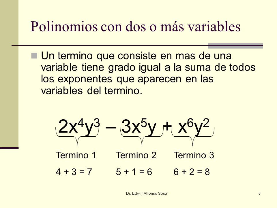 Polinomios con dos o más variables