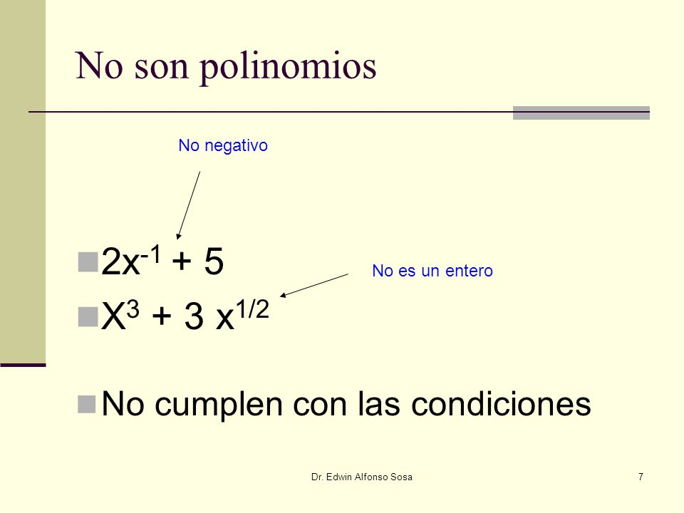 No son polinomios 2x-1 + 5 X3 + 3 x1/2 No cumplen con las condiciones