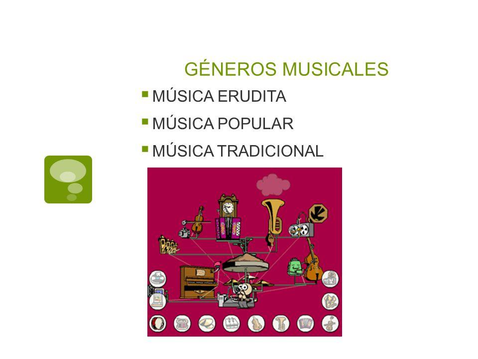 GÉNEROS MUSICALES MÚSICA ERUDITA MÚSICA POPULAR MÚSICA TRADICIONAL