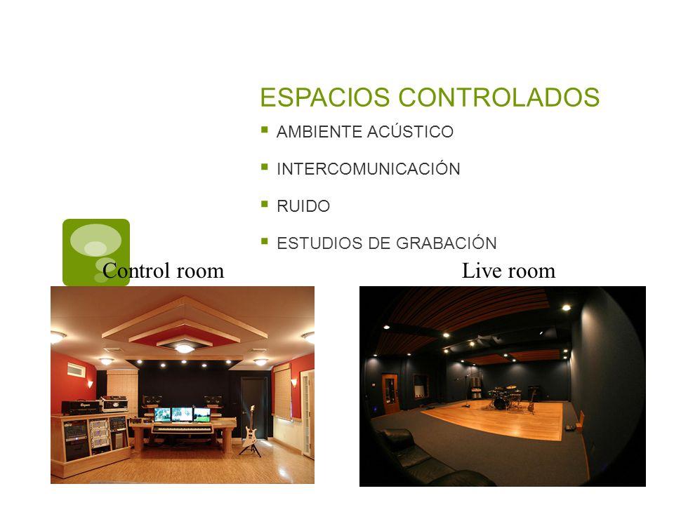 ESPACIOS CONTROLADOS Control room Live room AMBIENTE ACÚSTICO