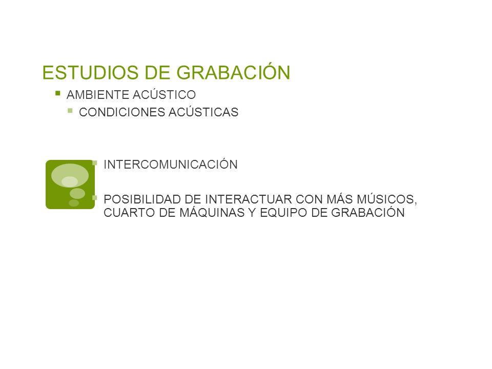 ESTUDIOS DE GRABACIÓN AMBIENTE ACÚSTICO CONDICIONES ACÚSTICAS