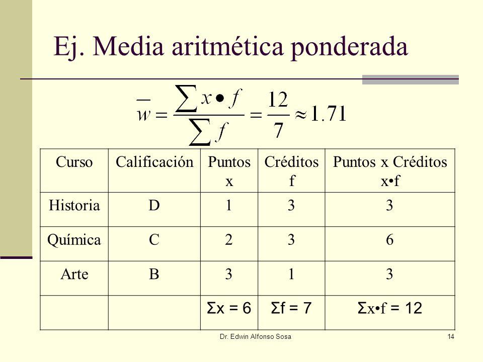 Ej. Media aritmética ponderada
